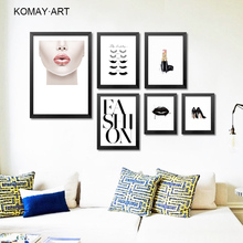 Modern Fashion Makeups Art Canvas Painting Prints Lipstick Eyelashes Posters Pictures For Beauty Shop Living Room K031