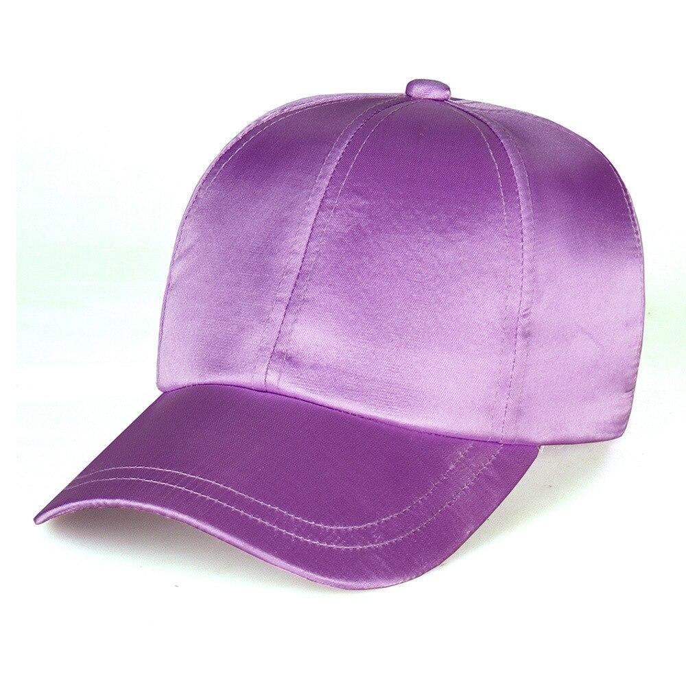 2018 Silky Satin Cap Gorras Solid Color Satin Silk Hat Fashion Women Casual Baseball Hats Ladies Snapback Sport Hip Hop Cap