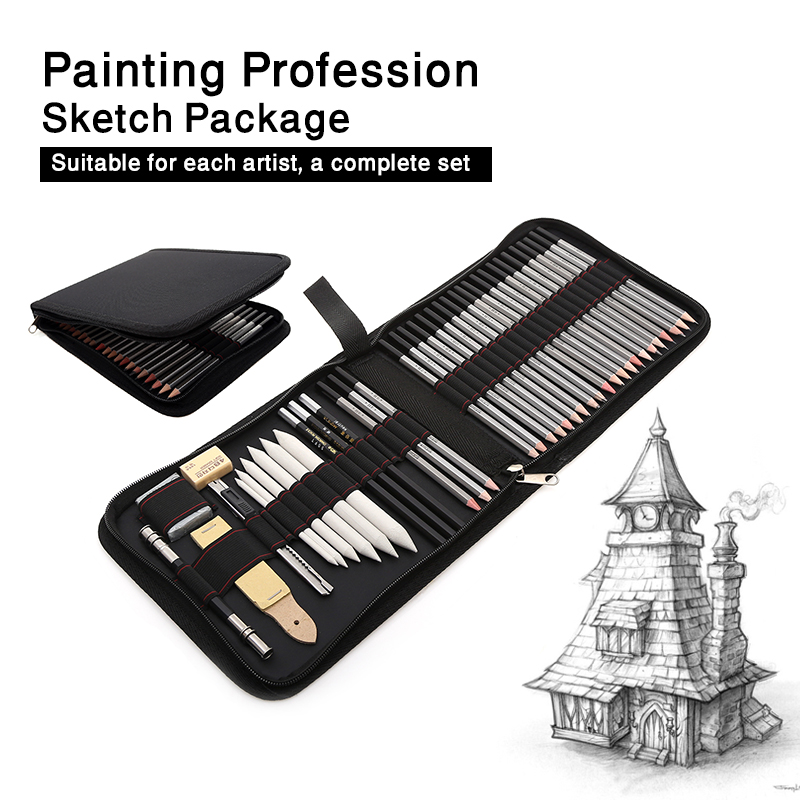 39pcs Professional Sketching Drawing Pencils Kit Including Sketch Graphite Charcoal Pencils Erasers Sharpeners for Art Supplies