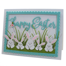 Rabbits in the Grass Metal Cutting Dies Stencil For DIY Scrapbooking Decorative Embossing Suit Paper Card Die Template