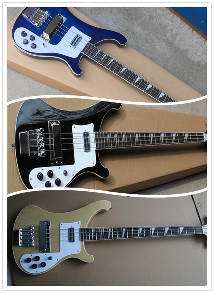 Blue & Black & Natural Firehawk Rick custom 4003 4 strings bass guitar ricken bass daul input double entry jack