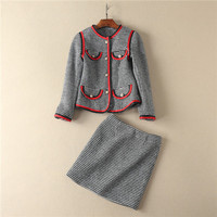 European American Style Autumn Winter New Arrival Swallow Grids Patchwork Color Ribbon Jackets And Mini Skirt