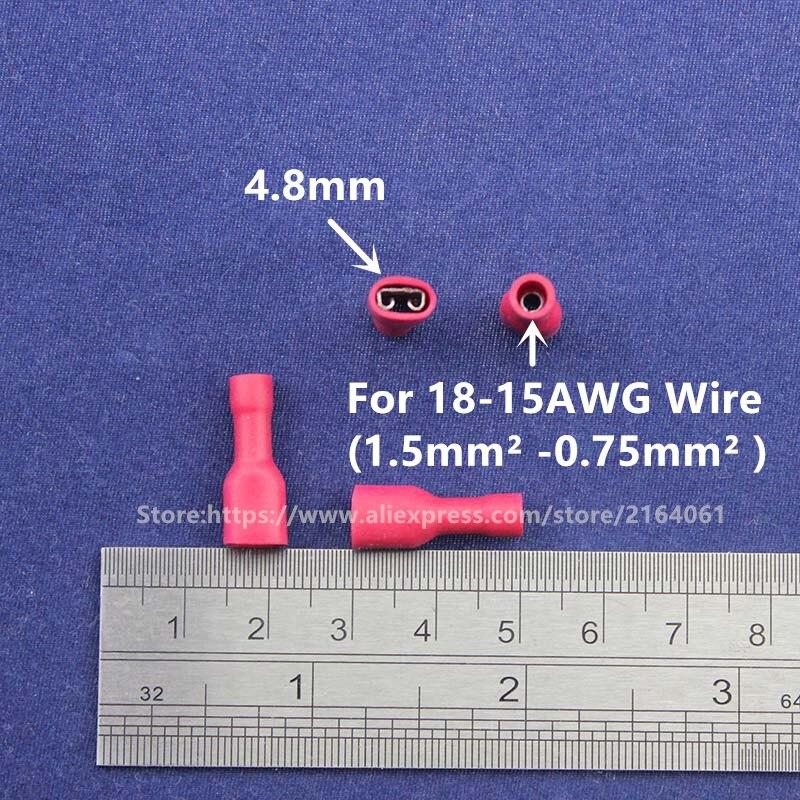 Aliexpress Com Buy 100 Red Spade Crimp Terminals 4 8mm