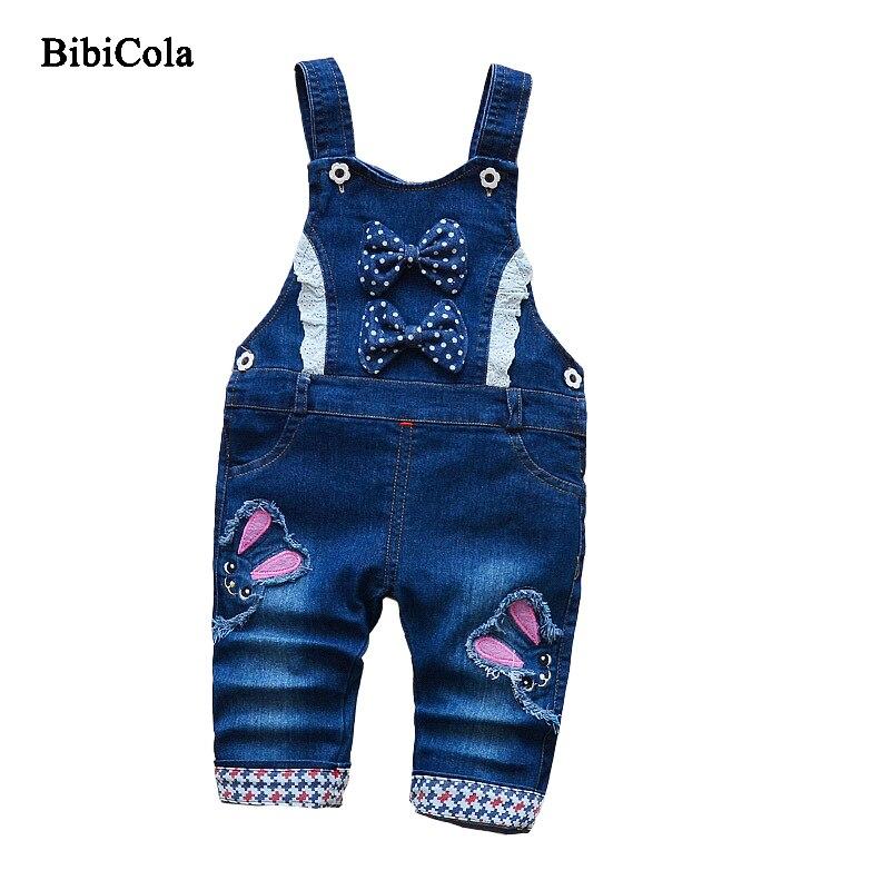 Bibicola 2018 nueva primavera otoño bebé Niñas Pantalones bowknot infantil BiB Denim Pantalones Niñas Vaqueros niños bebé Pantalones Niñas ropa