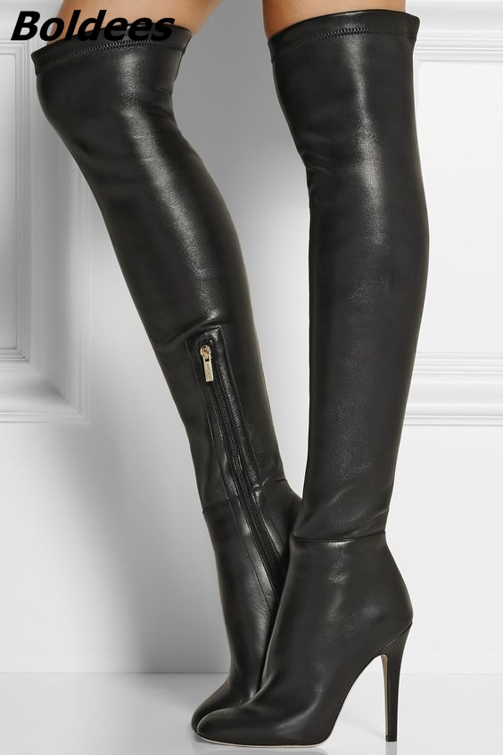 Women Chic Black PU Leather Stiletto Heel Knee High Boots Simply Design Sexy Black Side Half Zip Long Boots Hot Selling Shoes