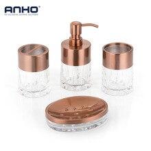 ANHO 4 шт., набор для ванной Европейский жидкого мыла чашки Зубная щётка мыльница Rack акриловые Home Decor аксессуары