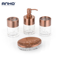 ANHO 4PCS Bathroom Set European Liquid Dispenser Cup Toothbrush Holder Soap Rack Acrylic Home Decor Accessories