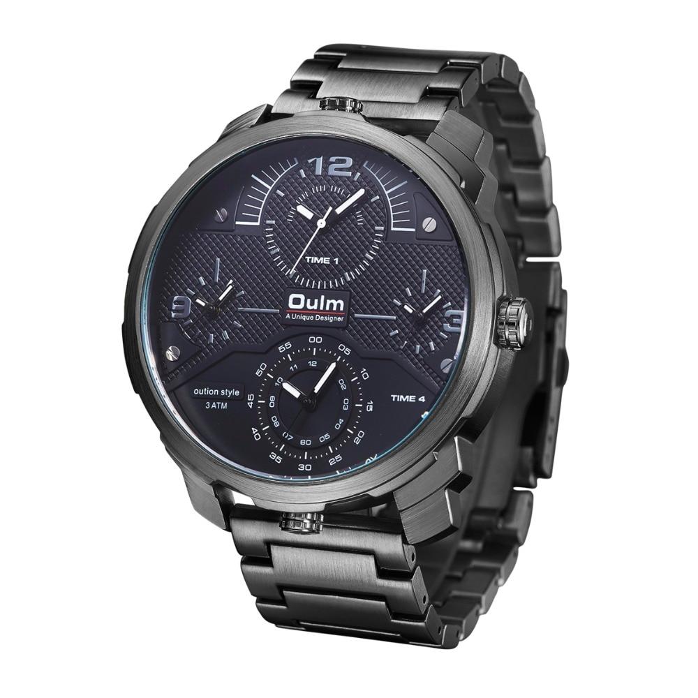 Oulm Merk Mannen Quartz Horloges Vier Time Show Hight Kwaliteit Stalen Band Mannen Horloges Man Militaire Klok Relogio Masculino Pure Witheid
