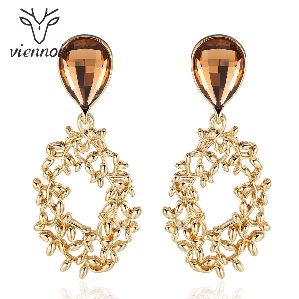 Viennois Vintage Silver Color Leaves Branch Drop Earrings for Women Water Drop Crystal Gold Color Dangle Earrings Female Jewelry pair of retro style tai ji color block drop earrings for women