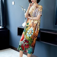 Silk dress 2019 summer new retro loose party print short-sleeved M-3XL high quality fashion elegant casual beach vestidos