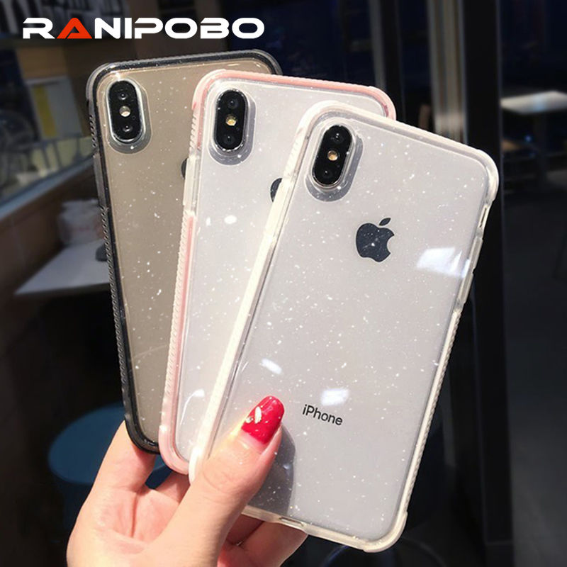 Shining Glitter Powder Phone Case For iPhone X XR XS Max 8 7 Plus 6 6S Plus Transparent Soft TPU Shockproof Bling Back Cover(China)
