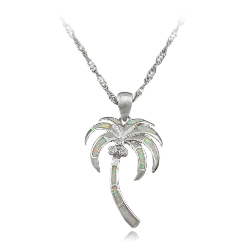 Haimis Speical Christmas Gift White Fire Opal Palm Tree Coconut Tree Opal Pendants Op431