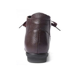 Image 4 - AARDIMI Botines cálidos de piel auténtica para Mujer, botas clásicas con cuña, para invierno