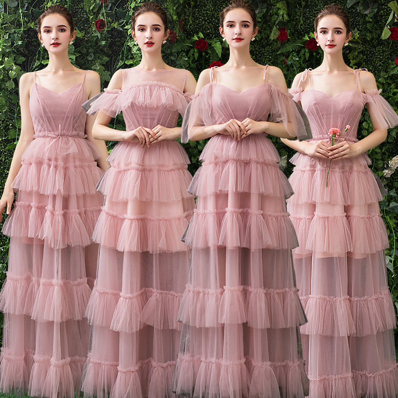 New Lace Bridesmaid Dresses 2019 Long A Line Dark Pink Tiered Creme Party Dress Wedding Party Prom Girl Dresses