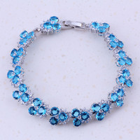 2017 New Products Sky Blue Created Topaz White CZ Silver Color Charm Bracelets For Women Bridal