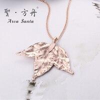 ArcaSanta Unique leaf True Leaves Necklace Brand Designer Ladies Ethnic Necklaces Fashion Real Leaves
