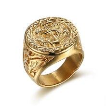 Хип-хоп цвет серебро золото кольцо из нержавеющей стали 316L высокое качество якорь байкер Мужские кольца Горячая Распродажа Мужская мода ювелирные изделия 7-15 размер