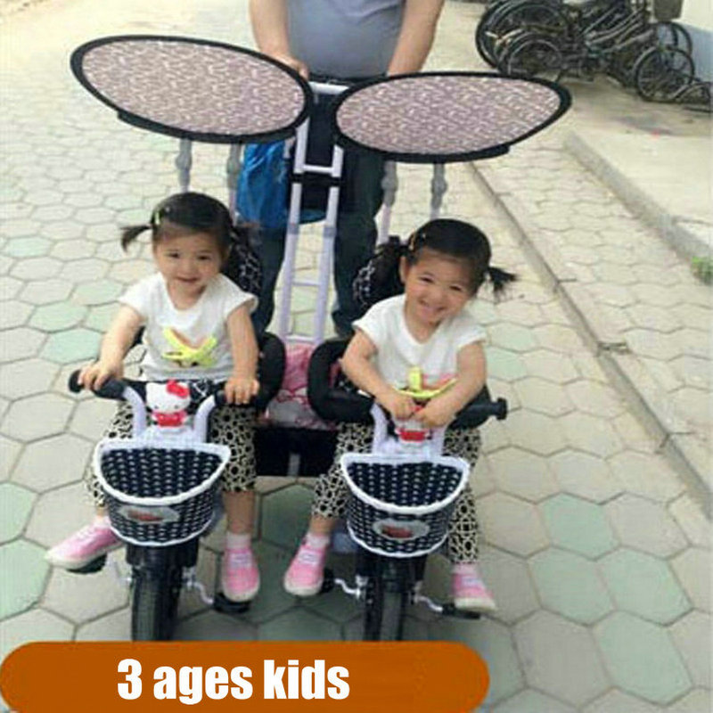 Multifunctional twins pedal tandem trike with steel frame, twins tricycle with remove pushbar, twins stroller with inflate wheel