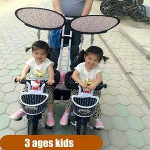 Triciclo multifunción tándem con marco de acero, triciclo gemelos con barra de empuje para quitar, cochecito para gemelos con rueda de inflado