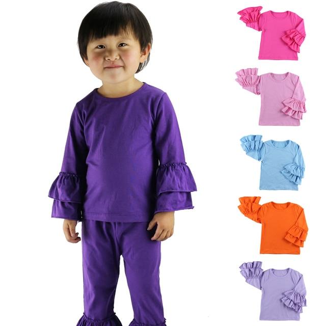 e9e9ad5d New Real Minecraft Minion Wennikids Solid Cotton Sleeve Ruffle Top,girl T- shirt Children T Shirts Kid Tops Free Shipping