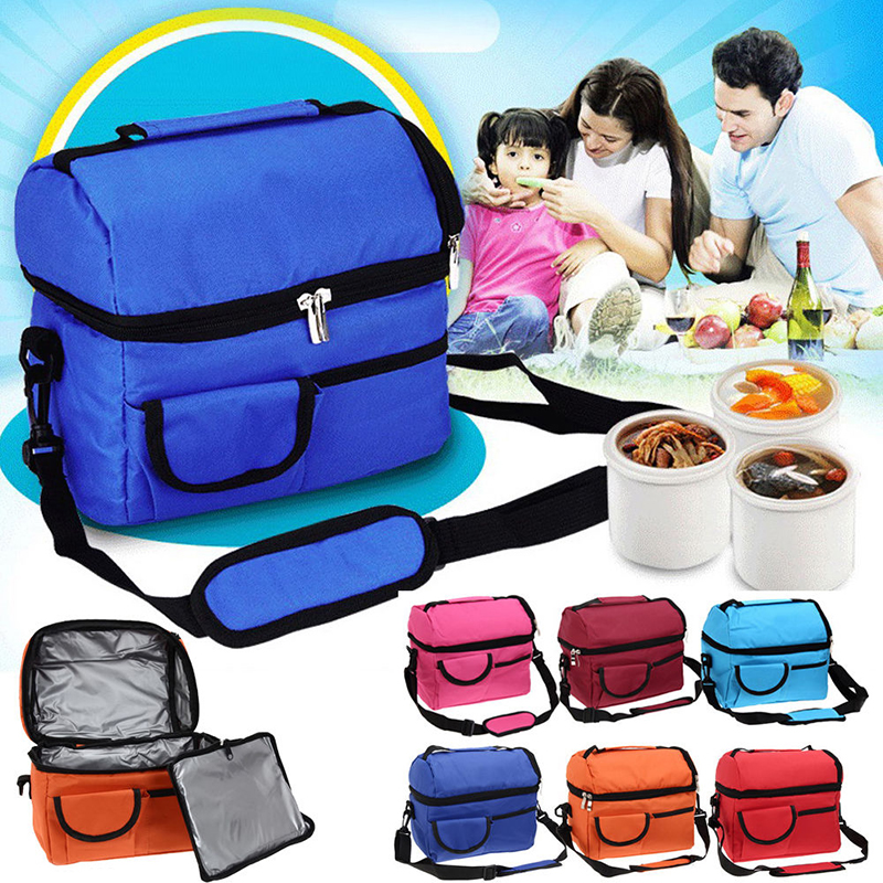 1pcs Lunch Box Bag Portable Picnic Food Storage Lunch Holder Outdoor Travel Lunch Container Thermal Shoulder Picnic Cooler Bag