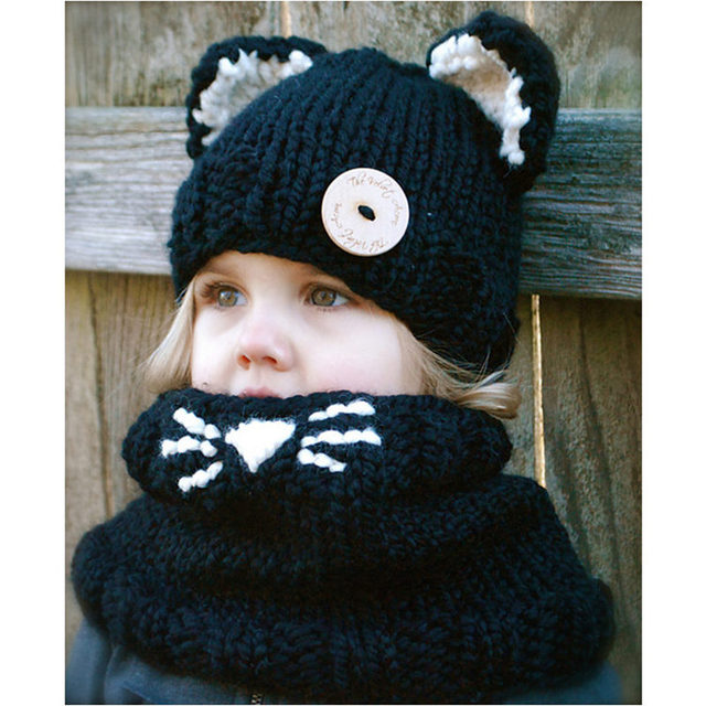 5044fafc latest design hats KNITTING PATTERN cat hat set winter hats for children