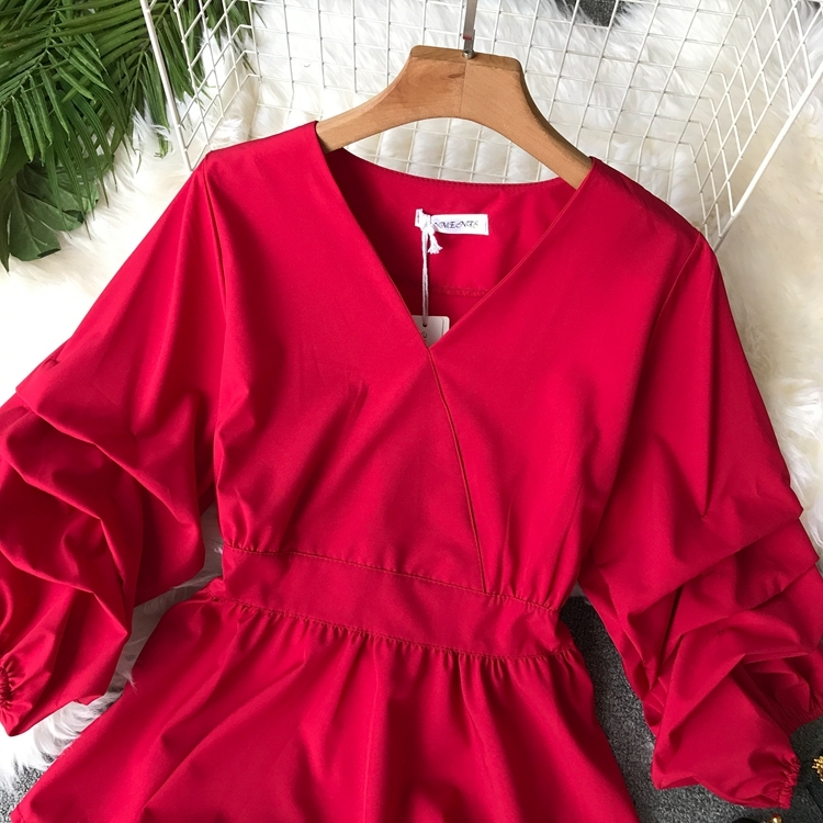 2109 Spring Women V-neck Puff Sleeves Blouse Slim Tunic Tops Retro Vintage Pullovers Busos Para Mujer Kimonos 81