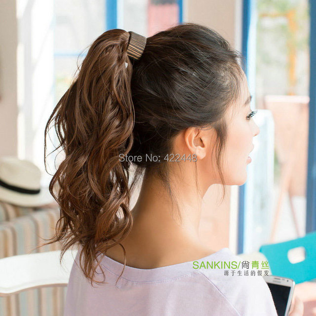Still Ring Style Ponytail Long Curly Black Hair Girl Ponytail Wig
