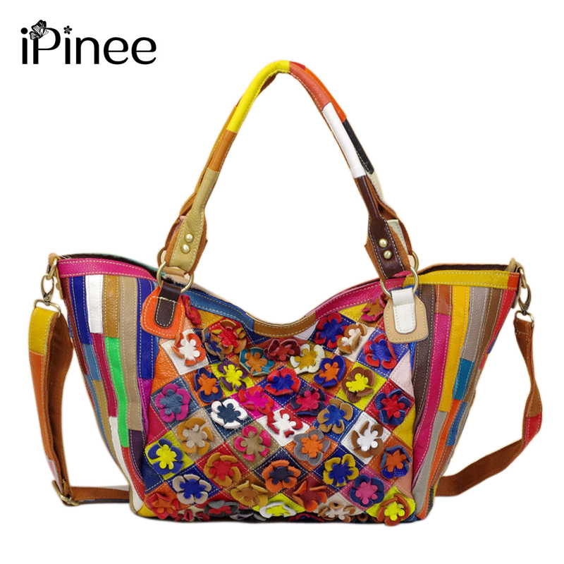 iPinee Hand-made Applique Colorful Women Shoulder Bags Genuine Leather Casual Handbags 2016 Cowhide Bag women new handbags retro genuine leather handbag shoulder bag head layer cowhide messenger bags female pure hand made bags