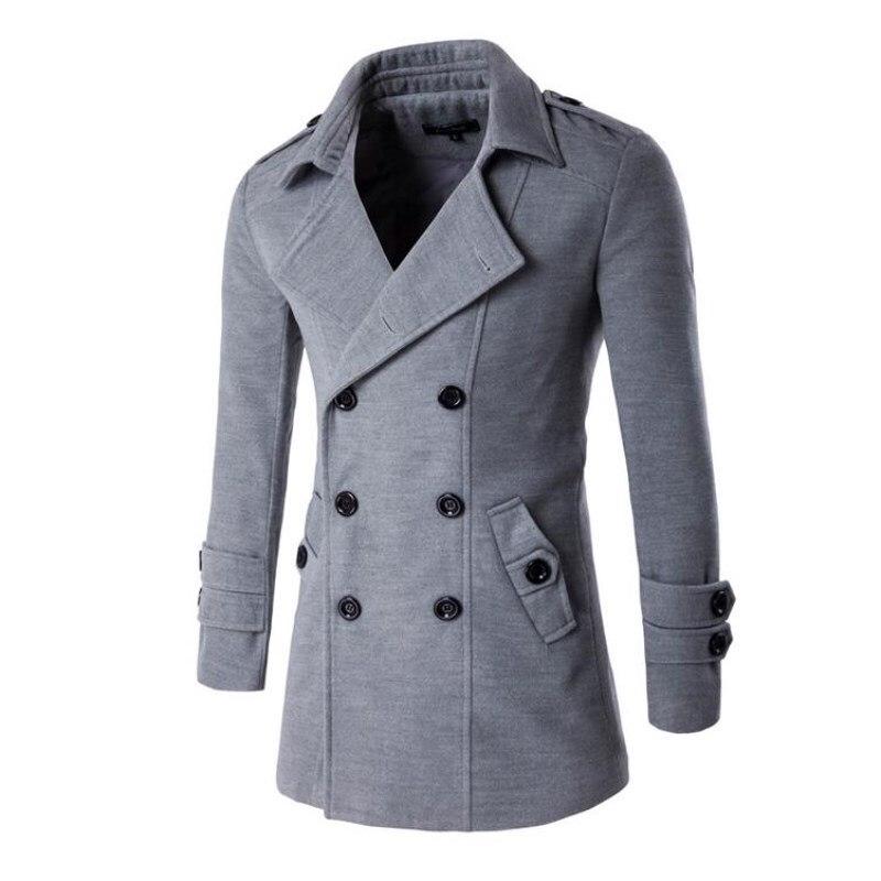 2017 New Fashion Autumn Winter Double Breasted Coats Long Trench Coat Peacoat Men Overcoat Pea Jacket