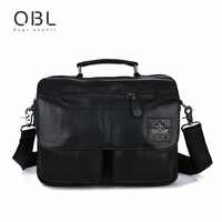 QiBoLu 2017 Cow Genuine Leather Handbag Men Messenger Shoulder Crossbody Bag Sacoche Homme Bolsa Masculina Bolso