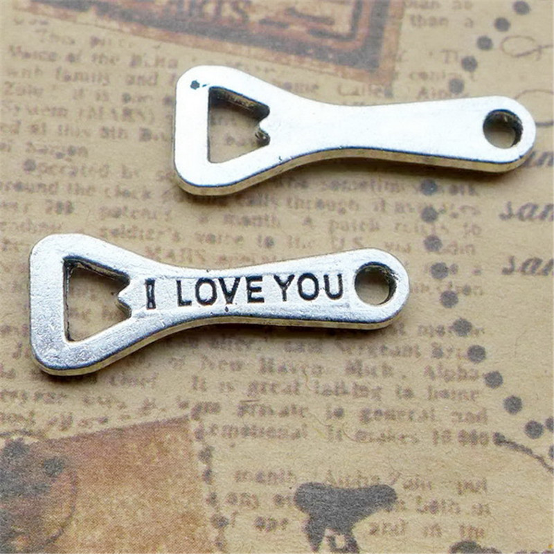 bulk 30 zinc alloy wine bottle opener charms message i love you stamped antique silver tone. Black Bedroom Furniture Sets. Home Design Ideas