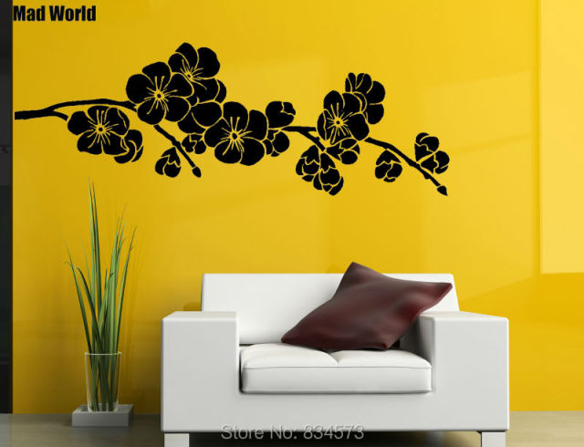 Mad World Japanese Cherry Blossom Silhouette Wall Art Stickers Wall ...