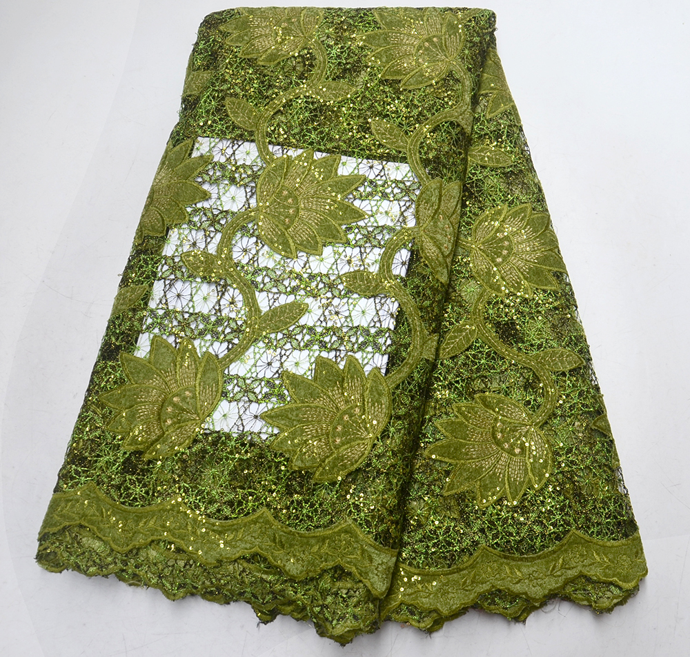 African Lace High Quality Guipure Cord Lace Fabric Plus Velvet With Sequins African Lace Fabric For Nigerian Party/Wedding Dress