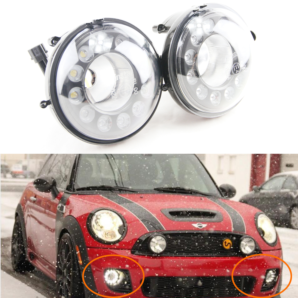Pair 12 CREE chip LED Daytime Running Lights Fog Lamp Assembly Kit For 2nd Gen MINI Cooper R55 R56 R57 R58 R60 R61 drl fog light good item 2pcs sh23w p13w cree chip led bulb 11w fog running lights drl anti brouillard sans odb abfeux de jour alfa romeo mito