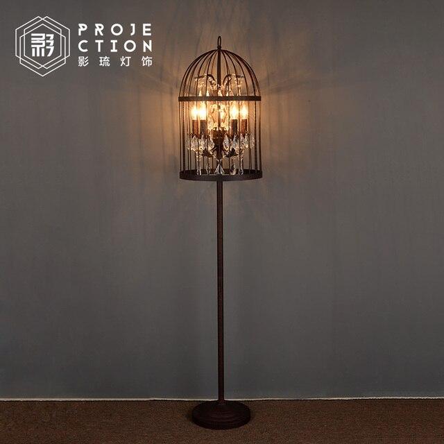 Loft industri le rh retro crystal antieke smeedijzeren for Industriele staande lamp