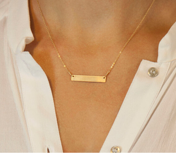 68e2f683e75e9d 18k Gold Plated Personalized Engraved Bar Name Necklace ,,Initial Bar Name  Necklace\\ GOLD CHAIN,nameplate necklace-in Chain Necklaces from Jewelry ...