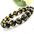 8mm 10mm 12mm 16mm Six-word Mantra Natural Agate Bead Bracelet Black Onyx Crystal Top Quality Men's Bracelets for Gifts