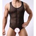 Мода марка плед ажурные прозрачная мужчина сексуальные фитнес шейперы / гей забавный бодибилдинг Bodysuit / горячей Shapewear