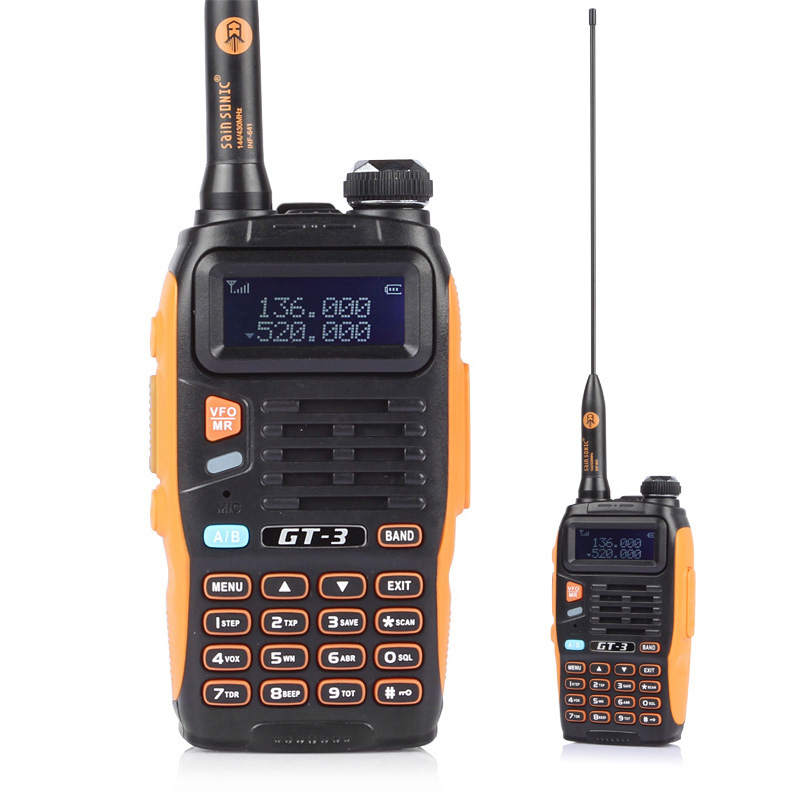 Baofeng GT-3 MARK II Transceiver Two-Way Radio Dual Band UHF/VHF Antenna Car Charger Handheld With 21CM High Gain Orange & Black