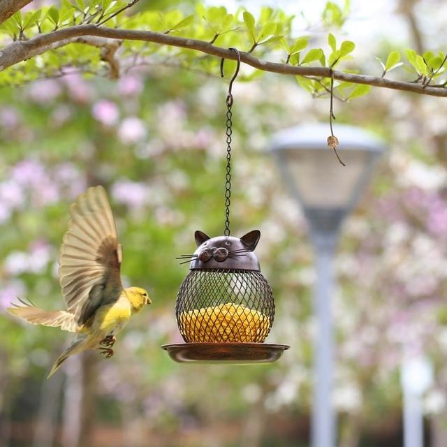 Cat Bird Feeder Vintage Handmade Outdoor Decor Villa Garden Decoration Hanging