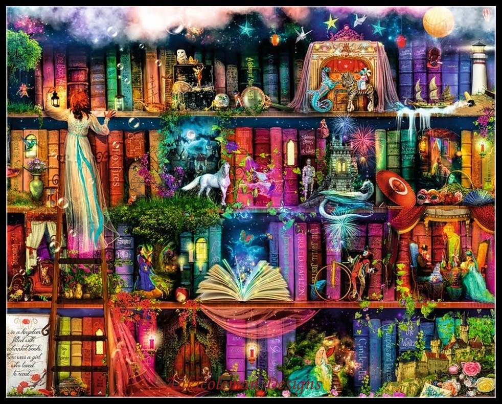 Ricamo per il ricamo diy francese dmc di alta qualità contati punto croce kit 14 ct pittura a olio-fabulous biblioteca
