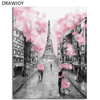 DRAWJOY DIYกรอบสีผนังภาพจิตรกรรมโดยตัวเลขภาพวาดและการประดิษฐ์ตัวอักษรDIYน้ำมันจิตรกรรมตกแต่งบ้...
