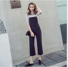 2017 summer women's new casual belt pants ladies Korean Slim wide leg  exudes nine points piece  spring  flare