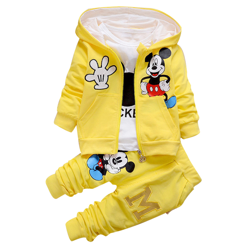 2017 New Chidren Kids Boys Clothing Set Autumn Winter 3 Piece Sets Hooded Coat Suits Fall Cotton Baby Boys Clothes Mickey T657