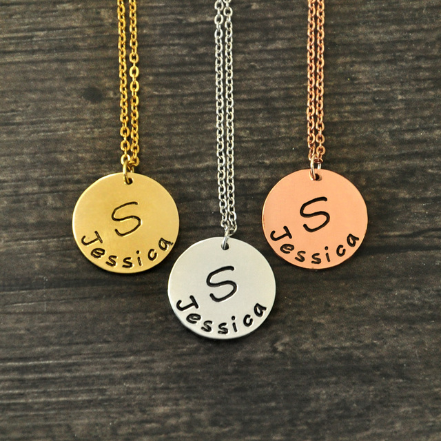 necklace products disk pendant circle medium wanelo shop tag personalized gold best initial on hammered