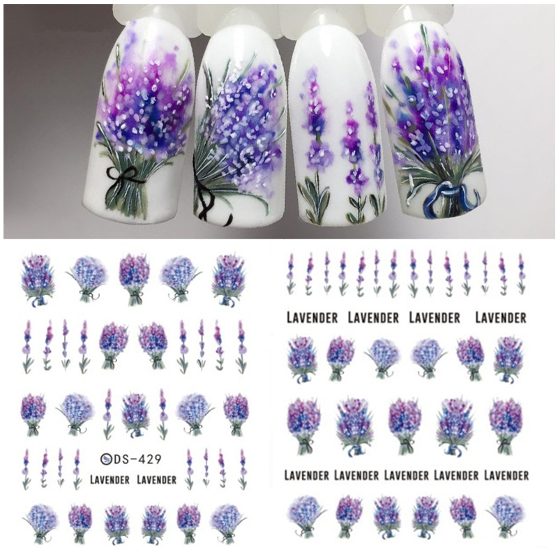 1 Sheet 7.6*12.2cm Flower Series Daisy Lavender Nail Sticker Animal Series Ocean Cat Plant Transfer Sticker Manicure-in Stickers & Decals from Beauty & Health
