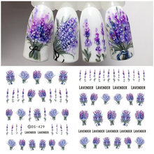 1 Sheet 7.6*12.2cm Flower Series Daisy Lavender Nail Sticker Animal Series Ocean Cat Plant Transfer Sticker Manicure(China)
