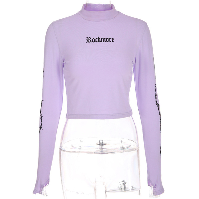 bfcab37e5a85d Letter Printed Turtleneck Crop Top Tees Women Spring Fall Streetwear Long  Sleeve Purple Pullovers