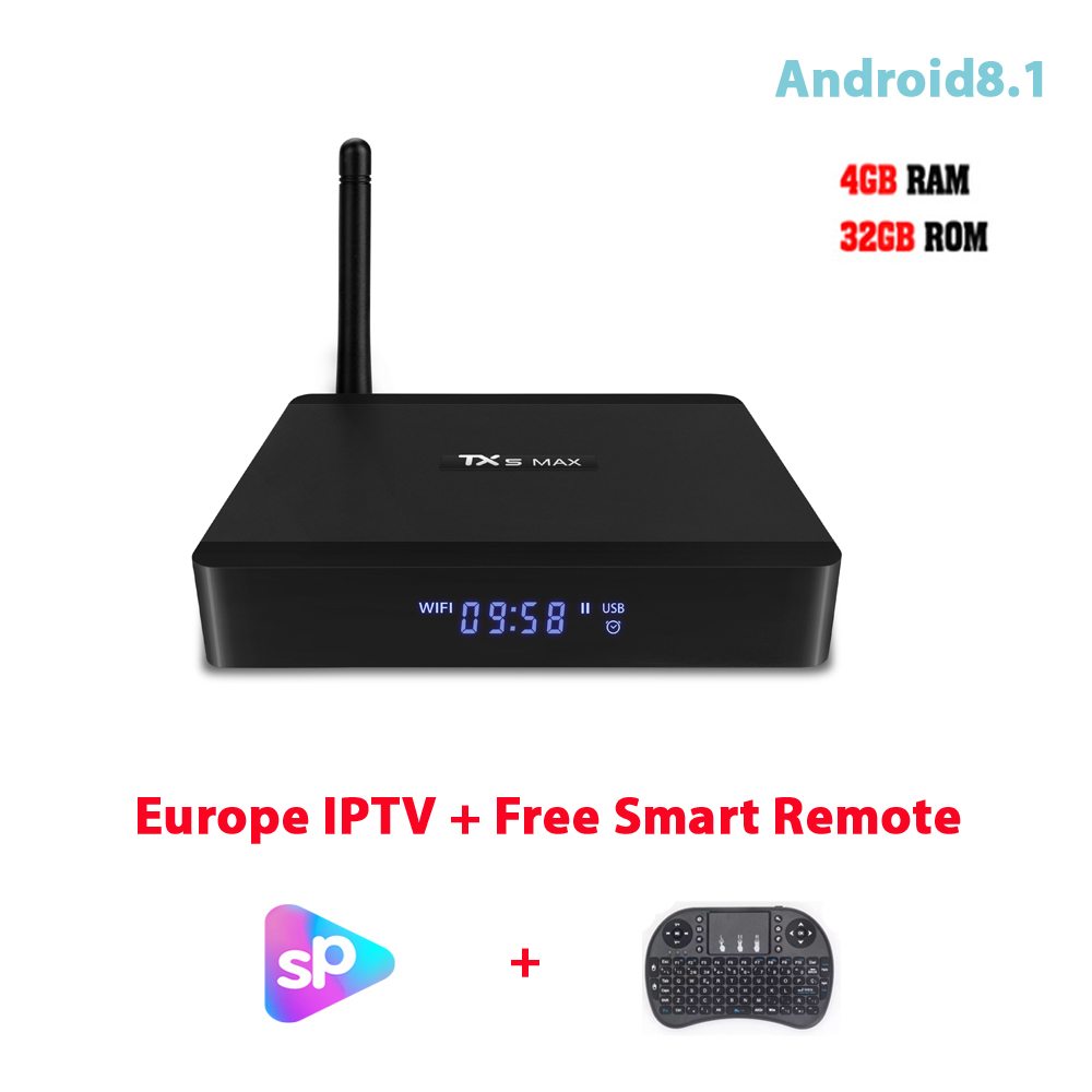 US $103 2 |Smart Internet 4G 32G TV Box Amlogic S905X2 Android 8 1 IPTV  French Box WIFI Bluetooth Youtube Media Player Free 1 Year APK-in Set-top